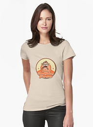 Ladies fitted t-shirt, keep laughing forever retro monkey