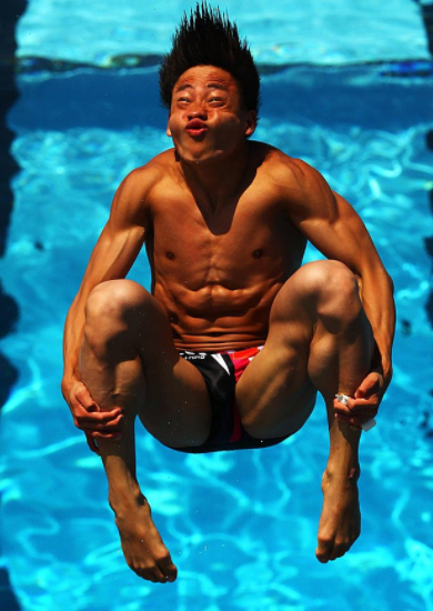 Olympic diver making kissing face