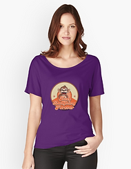 Ladies relaxed fit-shirt, retro monkey design