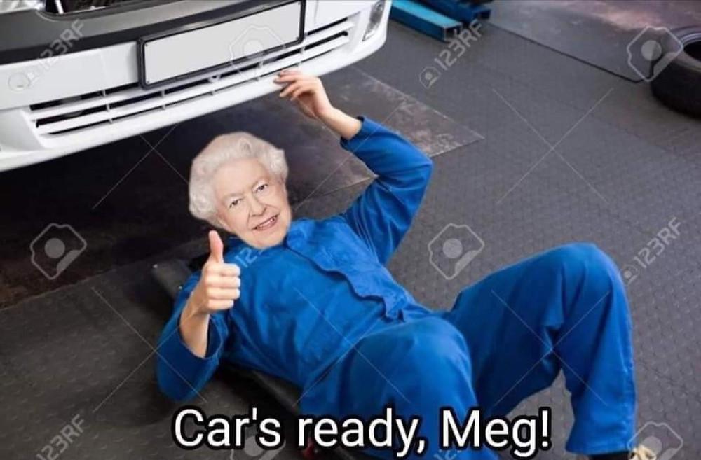 Queen Working on Meghan Markles Car Meme