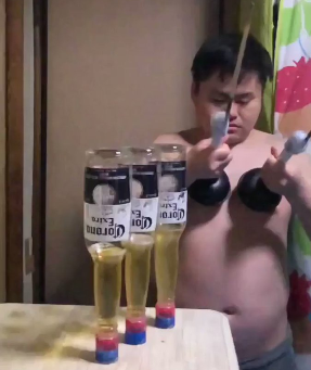 Man Performs Amazing Trick With Nipples And Corona  Beers