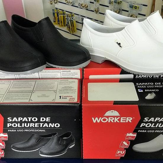 Sapato de Segurança PU Worker Branco ou Preto