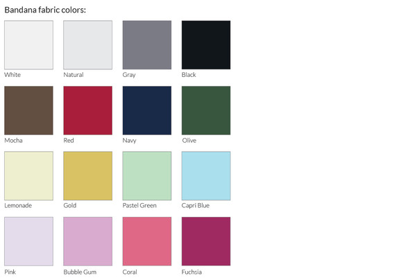 Bandana fabric colors