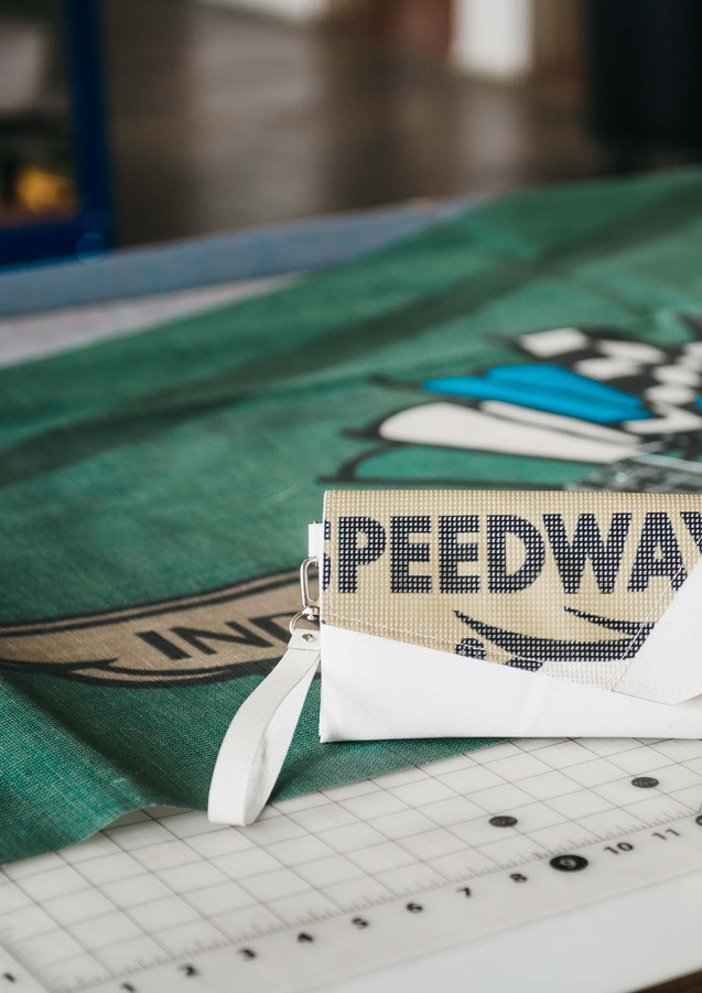 Bags made from reclaimed Indianapolis Motor Speedway banners
