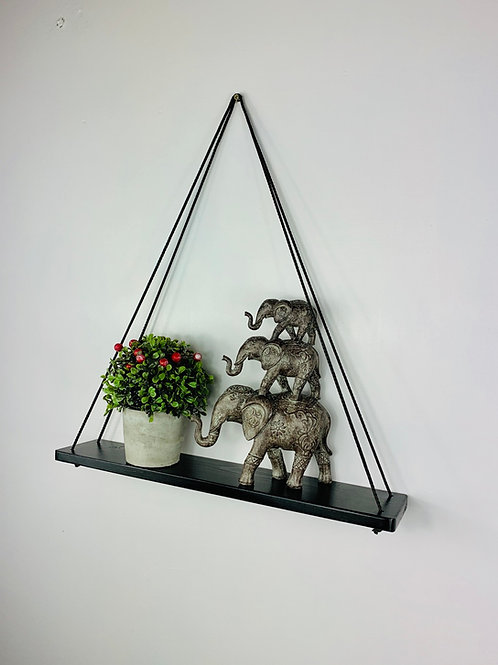 Long Single Tier Hanging Shelf - Black