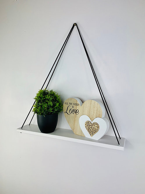 Long Single Tier Hanging Shelf - White