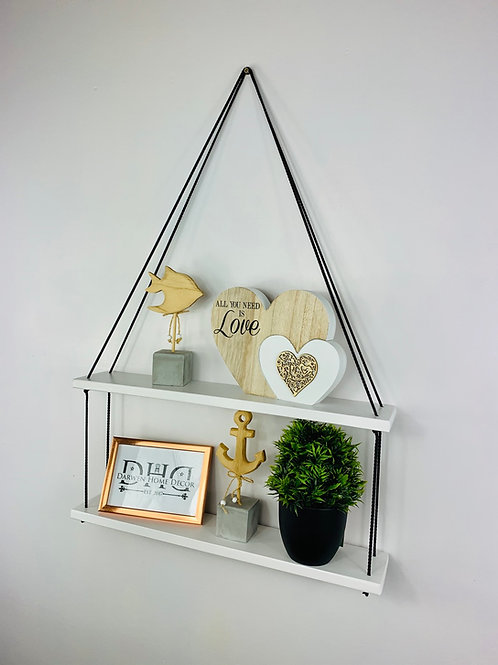 Long 2 Tier Hanging Shelf - White