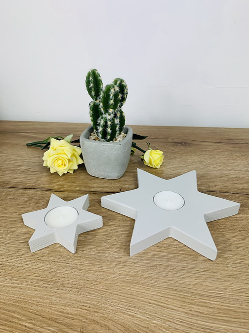 Tea Light Stars - Grey