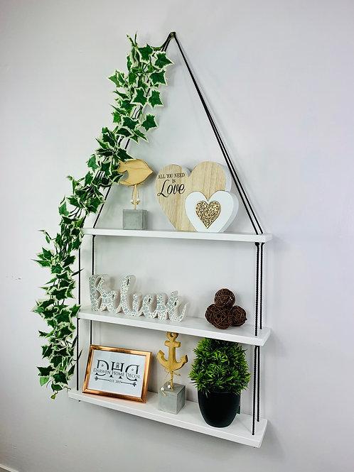 Long 3 Tier Hanging Shelf - White