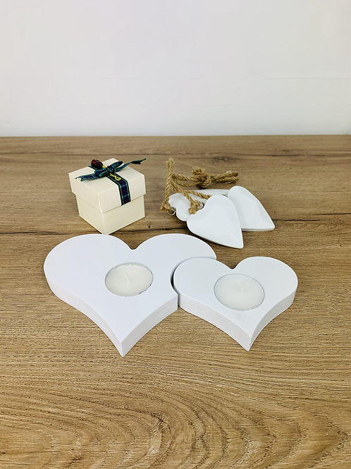 Tea Light Hearts - White