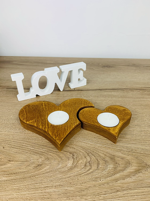 Tea Light Hearts - Light Oak