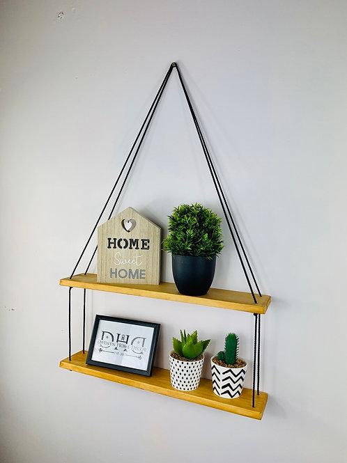 Long 2 Tier Hanging Shelf - Light Oak