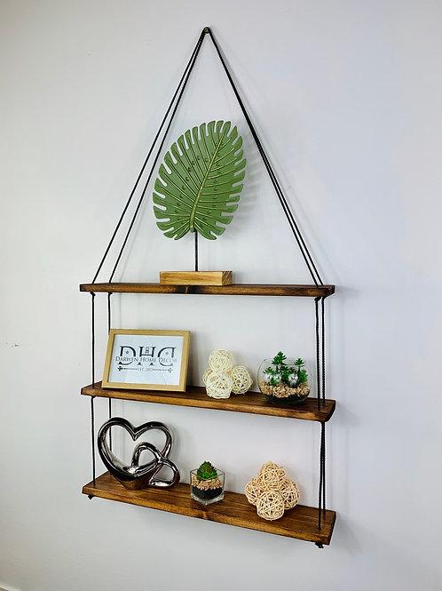 Long 3 Tier Hanging Shelf - Dark Oak