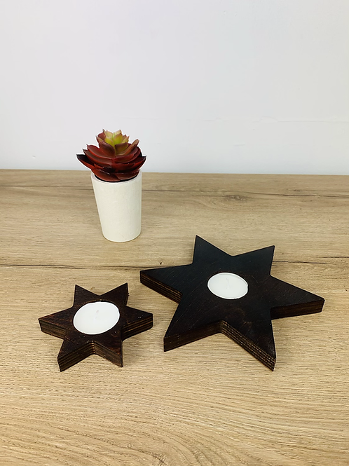 Tea Light Stars - Dark Oak