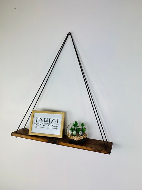 Long Single Tier Hanging Shelf - Dark Oak