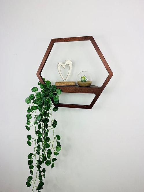 Hexagon Shelf - Dark Oak