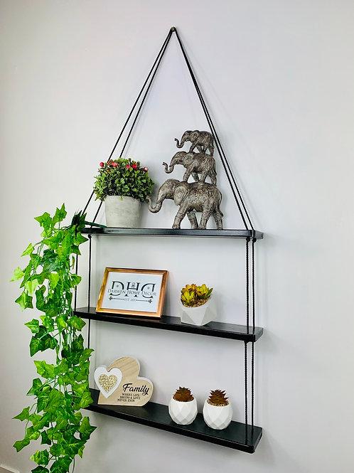 Long 3 Tier Hanging Shelf - Black