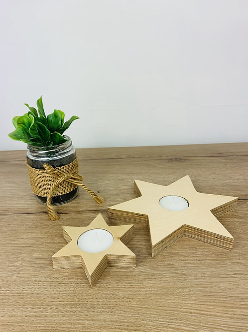 Tea Light Stars - Natural