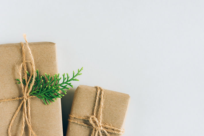 Canva - Two Gift Boxes Wrapped in Craft Paper with Juniper Twig on White Background. Chris