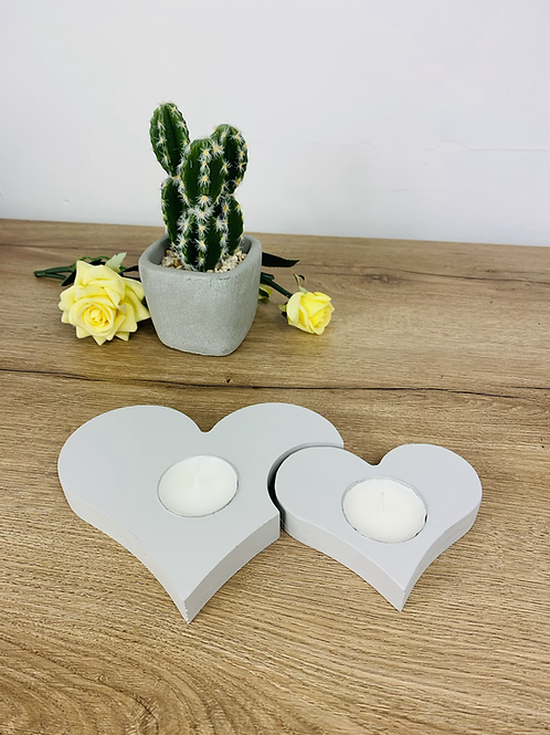 Tea Light Hearts - Grey