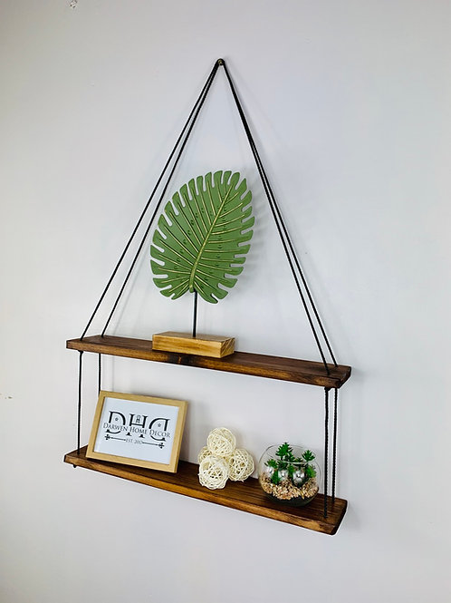 Long 2 Tier Hanging Shelf - Dark Oak
