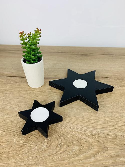 Tea Light Stars - Black