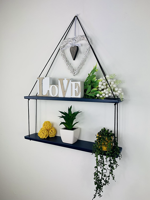 Long 2 Tier Hanging Shelf - Dark Blue