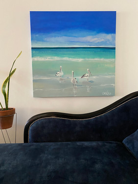 Pelicans with chaise (commission SOLD)