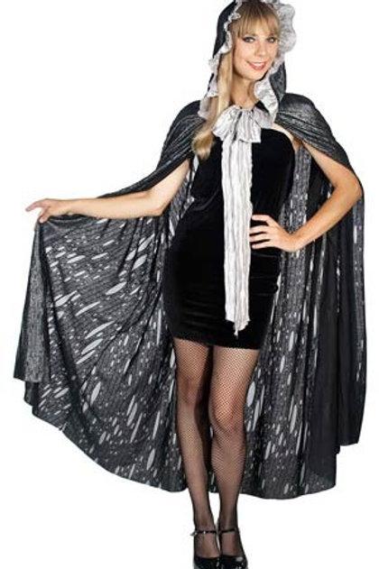 Jolie cape en noir lurex volant d'argent