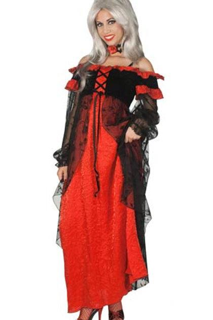 Robe longue rouge et voile tulle noir Gr.L