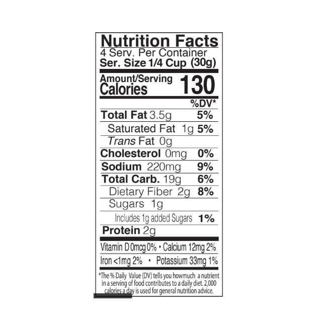 BBQ Corn Nuggets Nutritional Panel