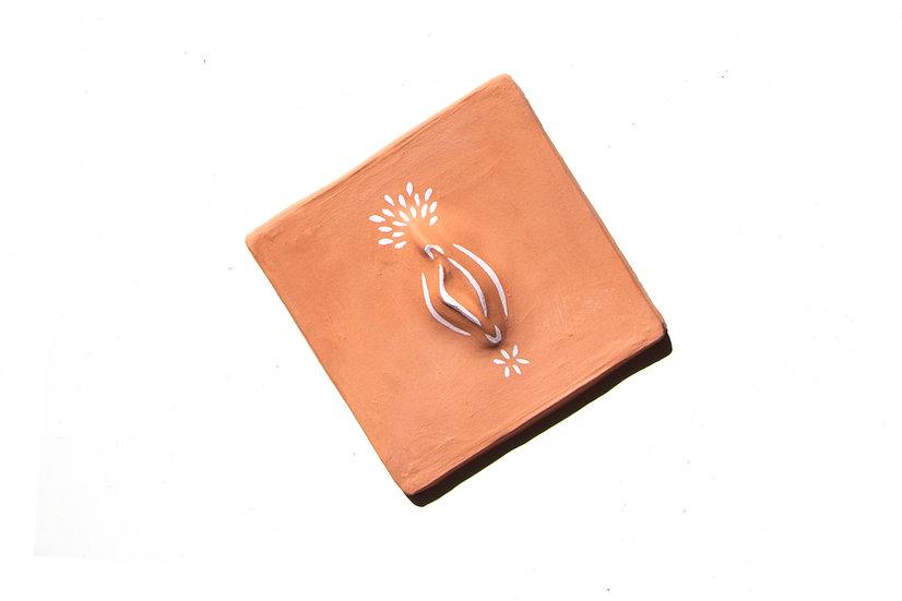 Terracotta Gash Tile - Pink Matt