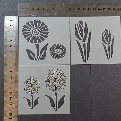Floral trio Mylar stencil