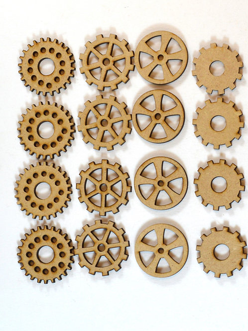 Cog and wheel MDF embellishments