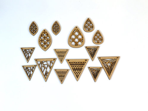 Triangular trio and droplets MDF pendant and earring sets