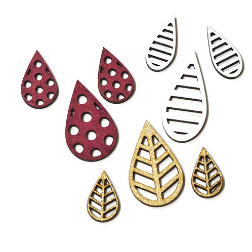Teardrop MDF earring and pendant sets
