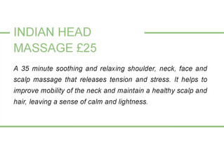 Indian Head Massage added to our repertoire.