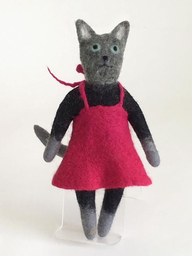 Grey Cat with Magenta Dress