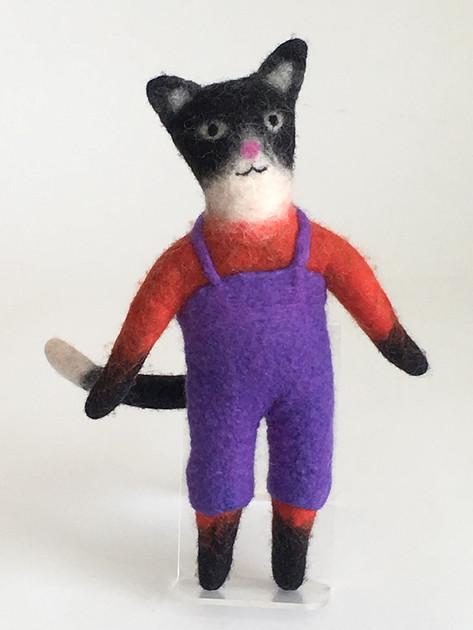 Tuxedo Cat with Violet Pants