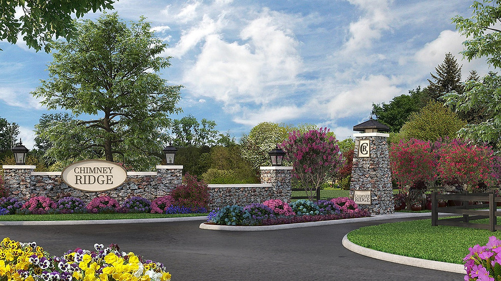 Community entrance to ChimneyRidge custom homes in Loveland,OH and the site of Cincinnati's Homearama in 2022