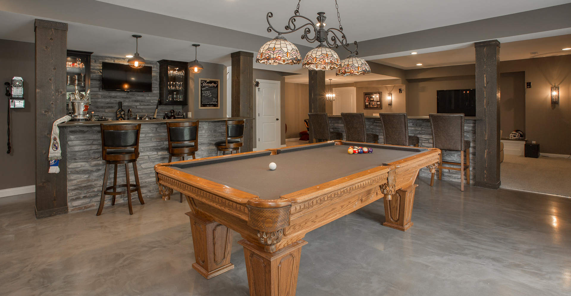 Finished Basement with pool table | First Floor Master Rustic Custom Home Design | Carriage Hill of Liberty Township Ohio