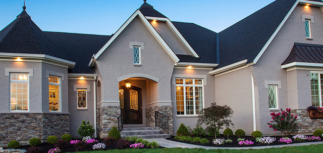 The Bordeaux shows off its curb appeal as Lucke's award-winning entry in Homearama 2014 in Carriage Hill.