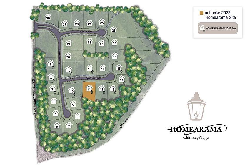 Community map of ChimneyRidge custom homes in Loveland Ohio, the site of Homearama 2022 in Cincinnati