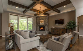 Rustic Living Room | First Floor Master Rustic Custom Home Design | Carriage Hill of Liberty Township Ohio