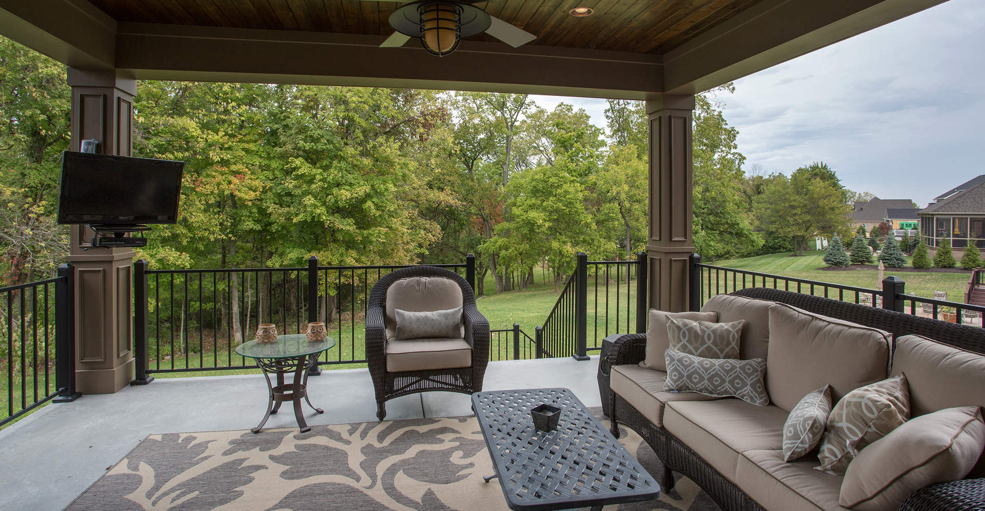 Outdoor living space | First Floor Master Rustic Custom Home Design | Carriage Hill of Liberty Township Ohio