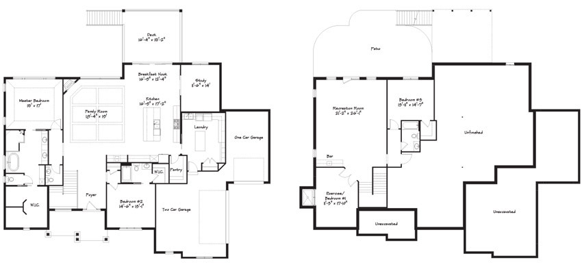 Floor plan designs for The Aurora – a new custom home design from the Robert Lucke Group
