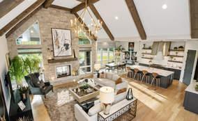 Modern Rustic Living Room | The Breckenridge is a First Floor Master Custom Home Design | Kensington of Mason Ohio