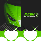 green logo design for agm auto storage