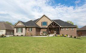 Exterior Elevation | First Floor Master Rustic Custom Home Design | Carriage Hill of Liberty Township Ohio