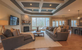 Contemporary Living Room | Custom Ranch Model Home For Sale | Kensington of Mason Ohio